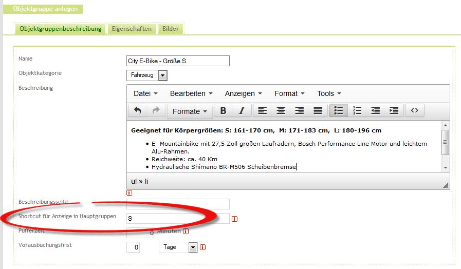 Vergabe der Shortcuts