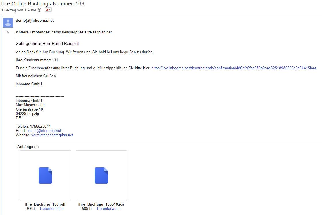 eMail Buchungsbestätigung