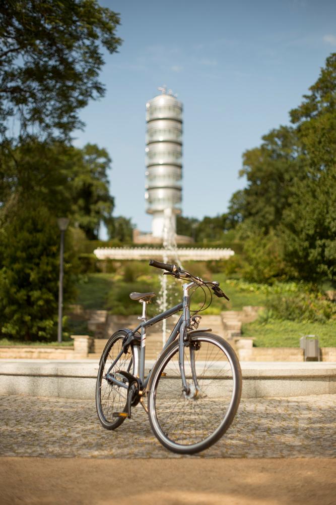 Fahrrad im Park abgestellt