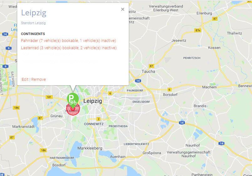 Übersicht der Verleihstationen mittels Google Maps Karte